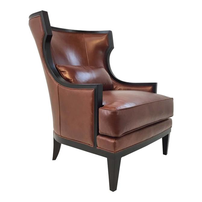 Transitional Thomasville Burnt Sienna Leather Capricorn Club Chair