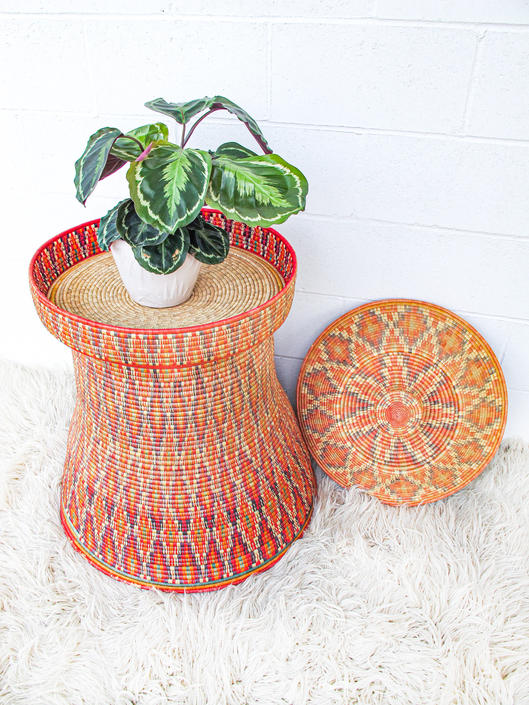 Gigantic Vintage Woven Tribal Ethiopian Mesob Basket Table with Lid by PortlandRevibe