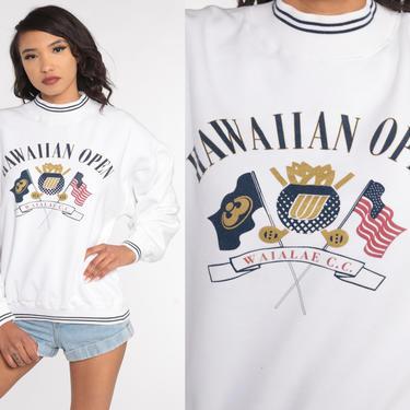 Hawaiian Open Sweatshirt GOLF Tournament Sweatshirt 90s Hawaii Shirt Mock Neck Athletic Graphic Vintage White 1990s Small Medium by ShopExile
