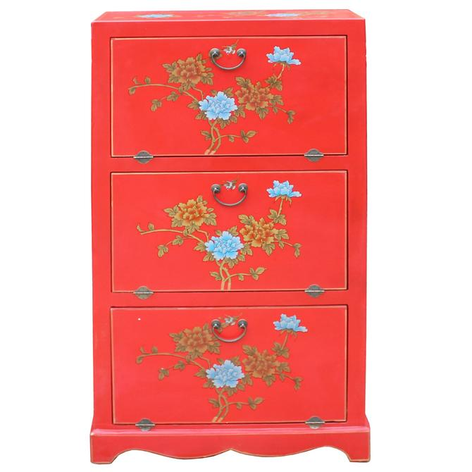 Chinese Red Vinyl Flower Shoes Accessories Storage Cabinet cs5013S