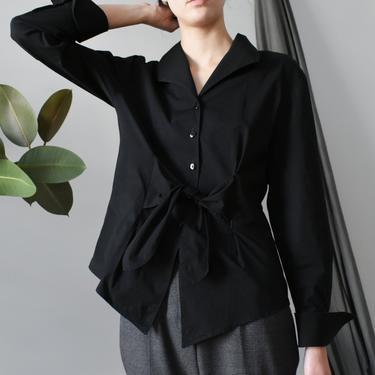 vintage tie front blouse / 90s button down black cotton shirt / S - M by ImprovGoods