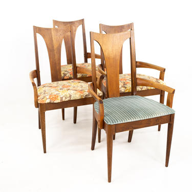 Broyhill Brasilia II Mid Century Walnut Captains Dining Chairs - Set of 4 - mcm by ModernHill