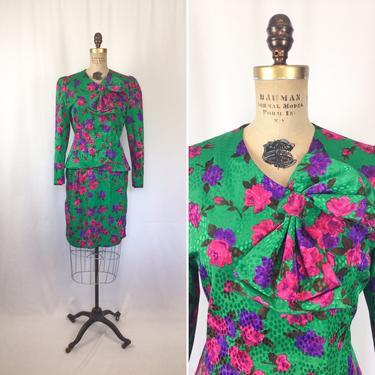 Vintage 80s suit | Vintage floral silk two piece suit | 1980s Lilli Ann jacket skirt suit by BeeandMason