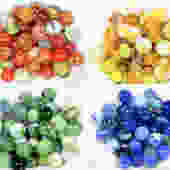 Your Choice -Assortment of 50 Vintage Glass Marbles - Blue, Orange, Green & Yellow Sets, You Choose-Vintage Glass Marbles | FREE SHIPPING by Bixley