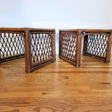 Mid Century Lattice Rattan Pair of Square End / Side Tables by ProRefineFurnishings
