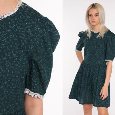80s Floral Dress Dark Blue Mini Boho PUFF SLEEVE Dress Vintage 1980s High Waisted Bohemian Small by ShopExile