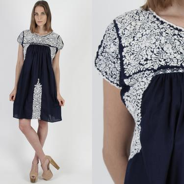 Navy Blue Oaxacan Mini Dress / 1970s All White Hand Embroidered Dress / Made In Mexico / Vintage A Line Mexican Frida Kahlo Dress by americanarchive