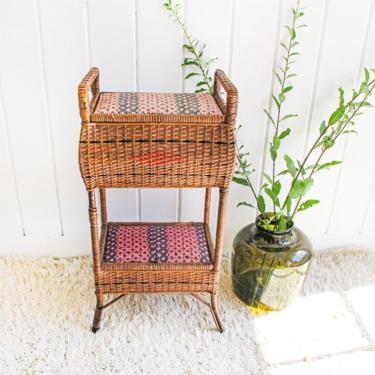 Vintage Wicker Rattan Woven Double Tier Basket Storage by PortlandRevibe