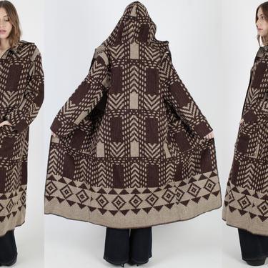 Vintage 80s Woolrich Blanket Coat Long Brown Wool Hooded Duster Jacket Beige Southwestern Print Winter Parka Deep Hood Womens Jacket by americanarchive