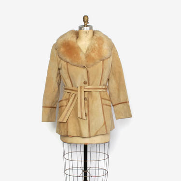 Vintage 70s Fur Collar Suede Coat / 1970s Sandy Beige Leather Fluffy SHEARLING Fur Trim Belted Jacket by luckyvintageseattle