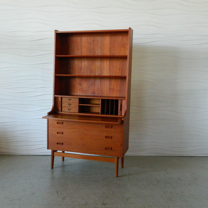 HA-C7940 Danish Teak Secretary Desk with Bookcase