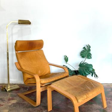 80s IKEA Poang Leather Chair & Ottoman