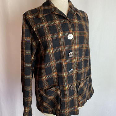 Vintage 49er jacket~ wool plaid coat~ dark grey with orange yellow~ MOP buttons~ 40's-50's rockabilly Pinup~ size small by HattiesVintagePDX