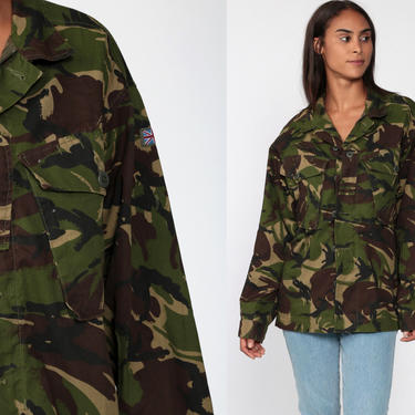 Camo Shirt 80s Military Jacket ARMY Camouflage UK Flag Utility Olive Drab Green 80s Commando Cargo Field Button Up Medium Large by ShopExile