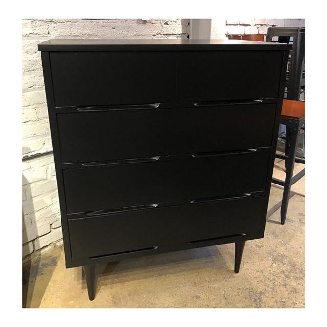 Petite black painted MCM chest of (4) drawers 34.5 W x 18 D x 42 H
