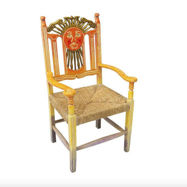 Vintage Mexican Sun God Hand Carved & Painted Ombre Chair by LynxHollowAntiques