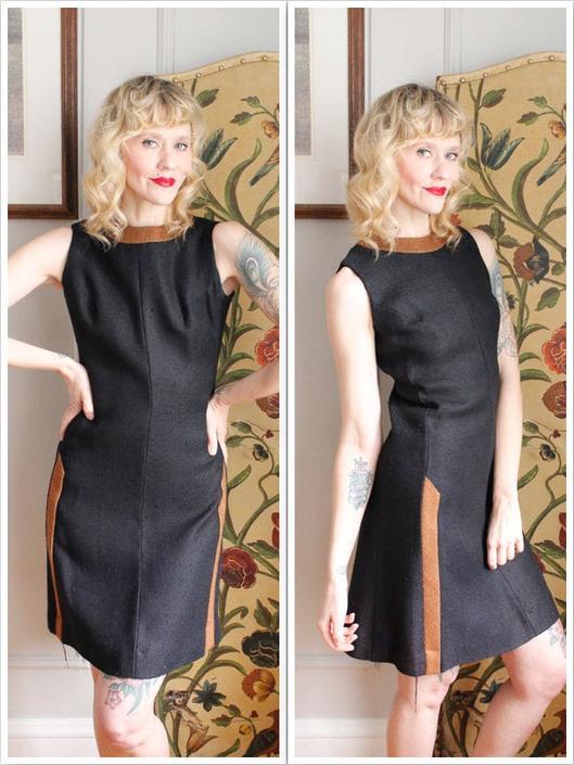 1960s Dress // Allison Ayres Shift Dress // vintage twill 60s dress by dethrosevintage