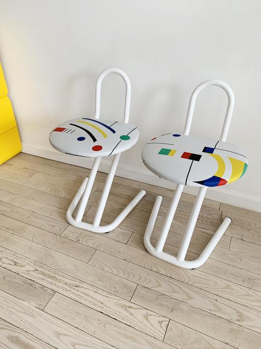 Pair of 1980s Post Modern White Bent Metal Stools