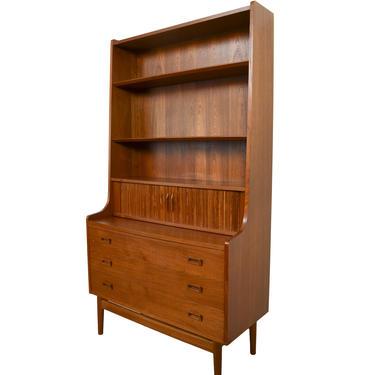 Teak Secretary Bookcase Johannes Sorth Danish Modern Standing Desk by HearthsideHome