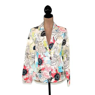 Floral Silk Jacket Embroidered Blazer Women Small Mod Colorful Print White with Light Blue & Coral Pink Lightweight Spring Summer Chicos by MagpieandOtis