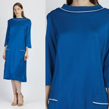 60s Mod Blue & White Shift Midi Dress - 2XL | Vintage Lady Laura by Toni Todd Three Quarter Sleeve Dress by FlyingAppleVintage