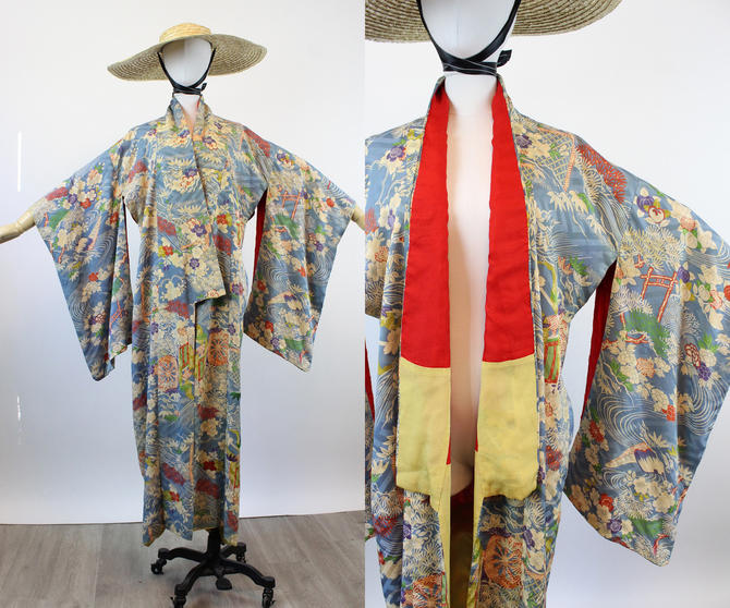 1940s silk KIMONO water lilies small medium large | new spring by CrushVintage