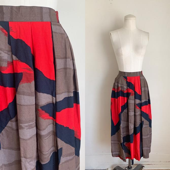 Vintage 1980s Color Block Rayon Skirt / M by MsTips
