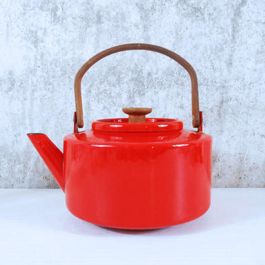 Copco Cherry Red Enamel Tea Kettle with Teak Handle and Knob by Michael Lax by MostlyMidModern