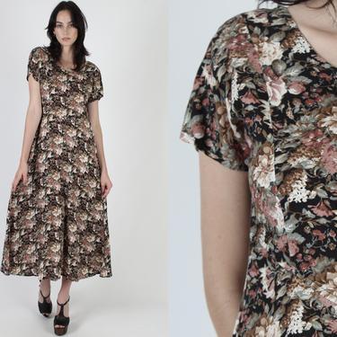 Vintage 90s Black Roses Floral Dress / Gypsy Grunge Festival Dress / 1990s Empire Waist Festival Babydoll Maxi Dress by americanarchive