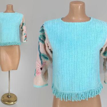 VINTAGE 1940s Ornate Fuzzy Chenille Cropped Beach Tunic Top With Fringe | Aqua Floral 40s Handmade Pajama Top, Bed Jacket, Sweater, Cover Up by IntrigueU4Ever