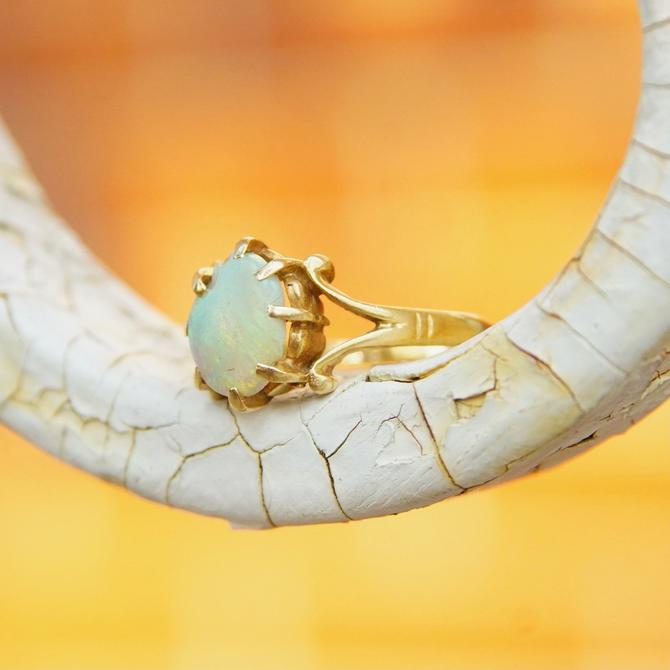 Vintage 14K Yellow Gold Opal Ring, Dazzling Opal Gemstone Ring, Size 4 3/4 US by shopGoodsVintage