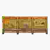 Chinese Distressed Yellow Orange Flower Scenery Sideboard Cabinet cs5737S