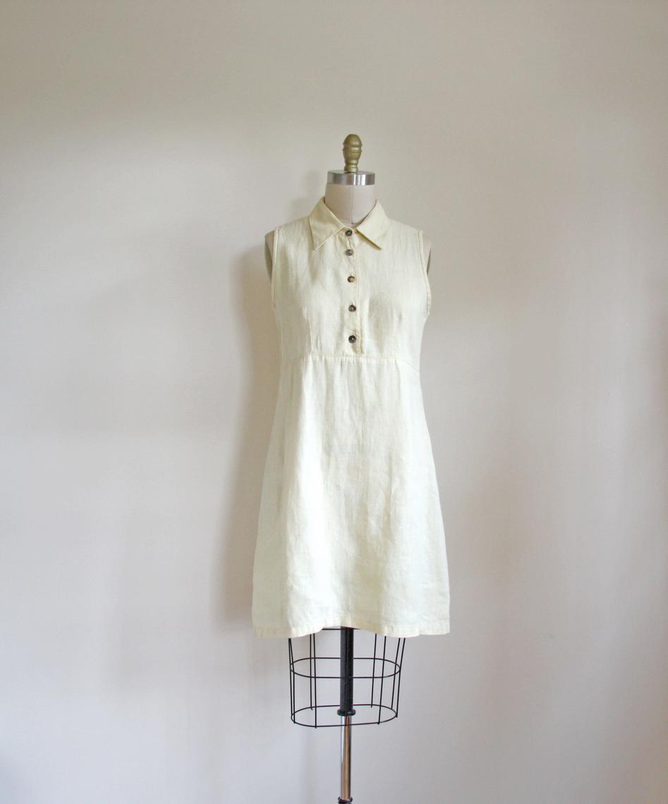 af52df743a vintage yellow linen dress