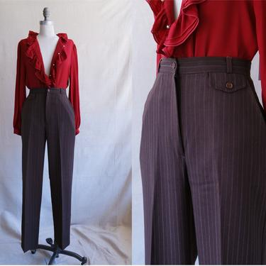 Vintage 70s Chocolate Pinstripe Trousers/ 1970s High Waisted Straight Leg Dark Brown Pants/ Size 27 by bottleofbread