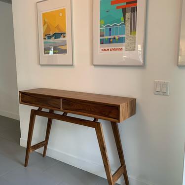 Mid Century Style Walnut Entry Table ( Custom listing for Julie ) by WestCoastModernLA