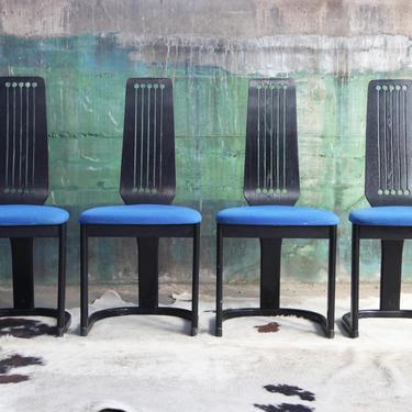SET of 4 Norwegian Ebonized Post Modern Black dining chairs Mid Century Modern McM 80's Memphis Geometric high back Postmodern NORWAY Black by CatchMyDriftVintage