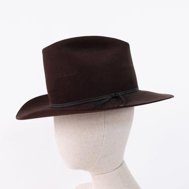 Vintage 70s WESTERN Dark Chocolate Brown High Crown Western Wide Brim Hat | Size 6 7/8 | Prairie, Cowgirl, Bohemian | 1970s Boho Cowboy Hat by TheVault1969