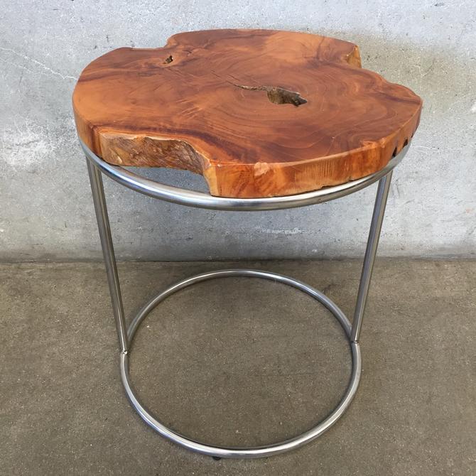 Burlwood Top Chrome Base Table