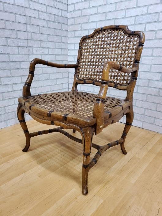 Bamboo-Form Cabriole Leg Cane Back Armchair