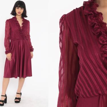 Burgundy Ruffle Dress 70s Midi Boho Wrap Secretary High Waisted Deep V Neck 1970s Vintage Long Puff Sleeve Bohemian Medium by ShopExile