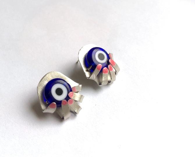 Evil Eye in the Hand Studs Recycled Sterling Silver Turkish Glass Eye Hamsa Studs by RachelPfefferDesigns