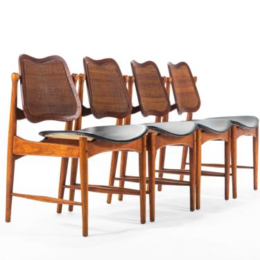 Set of 4 Arne Vodder Sculptural Chairs w/ a Cane Back and Brass Detailing, Denmark by ABTModern