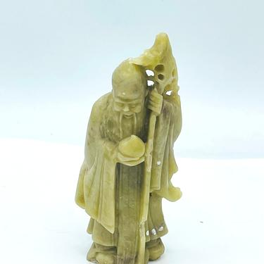 Antique Chinese God of Longevity Carved Soapstone by JoAnntiques