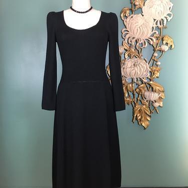 1980s st John dress, black knit, vintage 80s dress, puff shoulders, 80s sweater dress, wool and rayon, designer dress, medium, long sleeve by BlackLabelVintageWA
