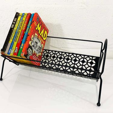 True Vintage Book Rack Mid Century Black Metal Mesh Books Stand Holder Retro Mid-Century Wire Holder Cookbook 1950s 1960s Mad Men Kitchen by CheckEngineVintage