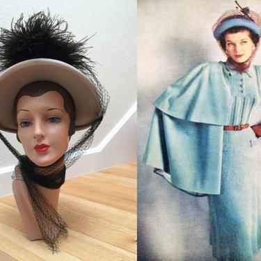Her Cavalier Ways - Vintage 1940s Light Taupe Beige Felt Bonnet Hat w/Black Feathers Netted Ties by RoadsLessTravelled2