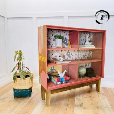 Mid Century Bookshelf / eclectic shelves / bohemian / retro/ glass doors / geometric design bookshelf by withlovefurniture10
