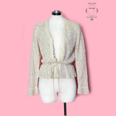 Irish Linen Crochet Blouse, Vintage Sweater, Ivory Cotton 1960's, 1970's, Drawstring Shirt Long Sleeve Top Jacket Boho Hippie Flapper 1920's by Boutique369