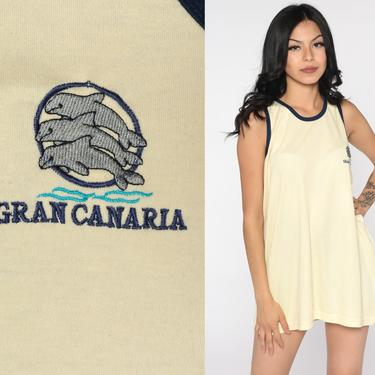 Gran Canaria Shirt Dolphin Shirts 80s Canary Islands Tank Top Graphic Tank Top Beach Tee Vintage Yellow Ringer Tee Extra Large xl 2xl by ShopExile