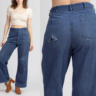 "70s Lightweight Distressed Denim Sailor Pants - Men's Small, Women's Medium, 30""   Vintage Navy Blue Flared High Waisted Jeans by FlyingAppleVintage"